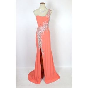 NWT Jovani Orange Slit-Skirt  Beaded One Shoulder